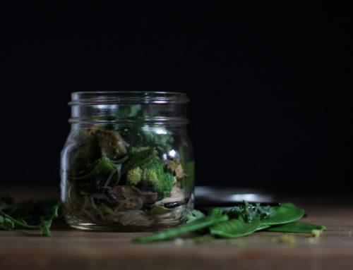 Glasnudeln mit Shitake Pilzen und Gemüse